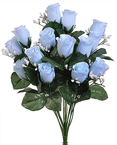(14 Light Baby Blue Roses Buds Lovely Long Stem Silk Wedding Flowers Bride Bouquets)