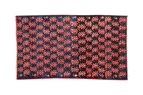 HeSamCrafts Handmade Auntique Red and Black Wool Area Rug (2'1