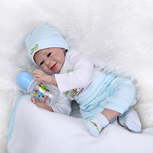Dirance 22 Inches Lifelike Reborn Doll Sleeping Soft Silicone Full Body Realistic Look Real Boy Doll Vinyl Reallike Newborn Baby Doll Outfit, Kids Gift for Ages 3+,Under 100 Dollars (Multicolor)