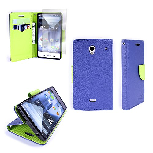 Sharp Aquos Crystal Wallet Phone Case and Screen Protector | CoverON® (CarryAll) Pouch Series | Tough Textured Exterior (Navy Blue / Neon Green) Cover with Credit Card and Cash Holder Slots for Sharp Aquos Crystal 306SH