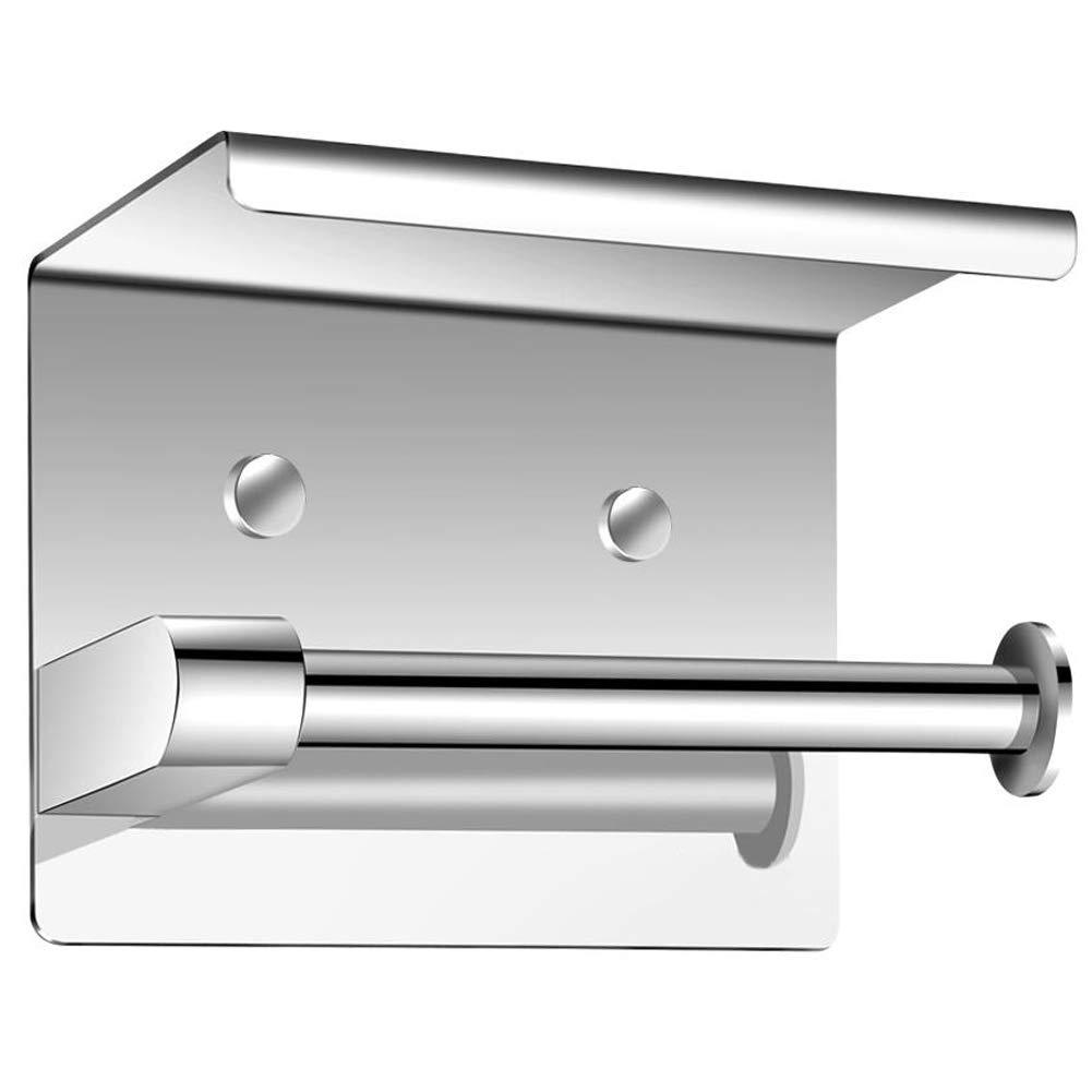 Greensen Wall Mounted Tissue Holder, SUS304 Stainless Steel Bathroom Toilet Paper Holder with Storage Shelf