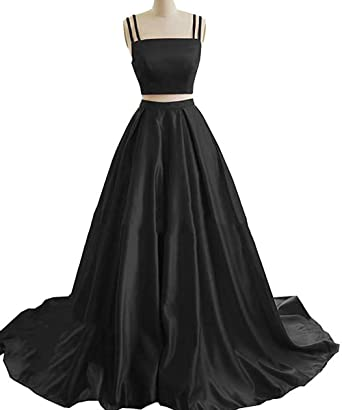 2bec7fc0bd4 Ri Yun Womens Two Piece Prom Dresses Long 2019 Spaghetti Strap A-Line Satin  Formal