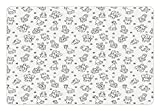 Ambesonne Black and White Pet Mat for Food and Water, Cute Animal Doodles Giraffe Pig Elephant and Bunny Monochrome Illustration, Rectangle Non-Slip Rubber Mat for Dogs and Cats, Black White