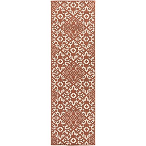 (Diva At Home 2.2' x 11.75' Majestic Medina Cayenne Pepper Red and Sandy Beige Shed-Free Area Throw Rug Runner)