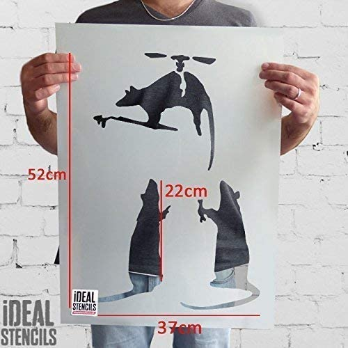 Reutilizable Decoraci/ón Hogar /& Artesan/ía Pintura Plantilla 37x52cm- see images Vuelo Helic/óptero Rata Banksy Rata Plantilla semitransparente plantilla