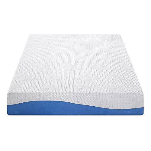 PrimaSleep Wave Gel Infused Memory Foam Mattress, 10'' H, Cal King, Blue