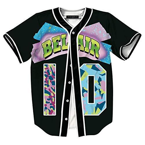 HOP FASHION Youth Mens Women Boys Girl Kids Baseball Jersey Short Sleeve Button Down Shirts 90s Theme Party 3D Number 10 Colorful Print Baseketball Dance Team Uniform Tees ()