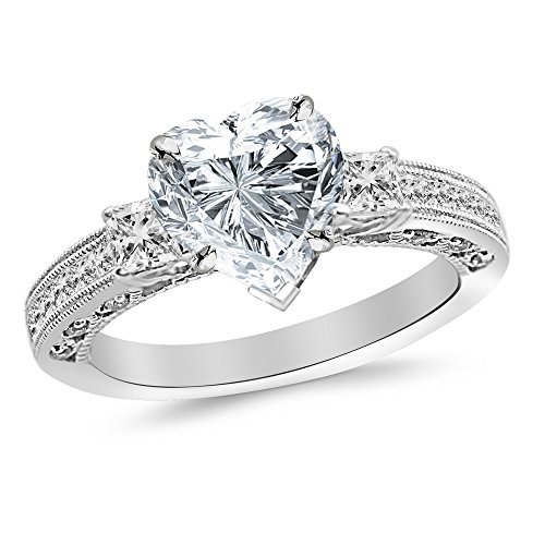 1.5 Cttw 14K White Gold Heart Cut Three 3 Stone Princess Cut Channel Set Diamond Engagement Ring with a 1 Carat H-I Color SI2-I1 Clarity Center