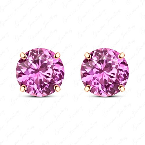 Gemstar Jewellery 925 Sterling Silver Round Pink Sapphire Stud Solitaire Earrings 14k Rose Gold Fn ()