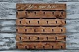 Rustic Wood Coffee Cup Rack 30 Mug Hooks XL