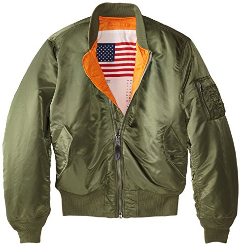 Alpha Industries Men's MA-1 Blood Chit Flight Bomber Jacket, Sage, Medium by Alpha Industries