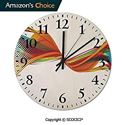 PUYANG 12 Inch Silent Vintage Round Wall Clock Rainbow Curved Wave Smoke Like Image with Pixel Style Detail Arabic Numerals Vintage Rustic Chic Style Wooden Round Home Decor Wall Clock