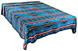 Splendid Exchange Southwestern Bedding Bonita Collection, Mix and Match, Queen/Full Size Reversible Bedspread, Anasazi Blue and Black