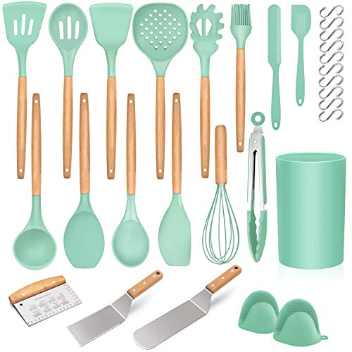 Homikit 30 Piece Kitchen Cooking Utensils with Holder, Heat resistant Silicone Spatula Set for Nonstick Cookware, Plus Metal Cooking Spatula Turner Dough Scraper, Wooden Handle, Green