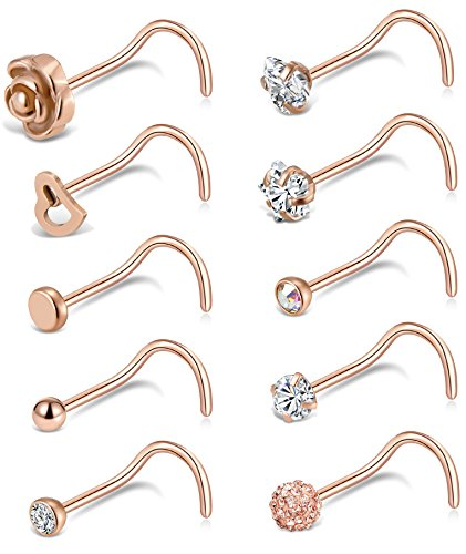 - Tornito 20G 10Pcs Stainless Steel Nose Screw Studs Rings CZ Nose Ring Labret Nose Piercing Jewelry for Men Women (B1:10Pcs, Rose Gold Tone)