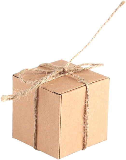 TOPINCN - Caja de Papel Kraft (50 Unidades), Color marrón, Reciclado, para Regalo, Cuadrado, para Bodas, Dulces, Chocolate, Kraft, Fiestas, Cajas de Suministro: Amazon.es: Hogar