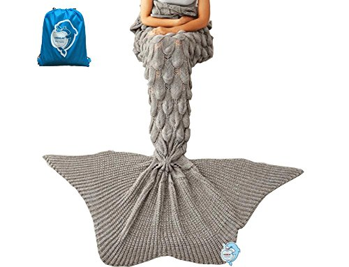 LAGHCAT Mermaid Tail Blanket Knit Crochet and Mermaid Blanket for Adult,Sleeping Bags (71x35.5, goldfish tail-Grey)
