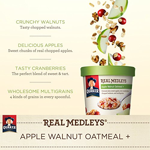 030000315507 - Quaker Real Medleys Oatmeal+, Apple Walnut, Instant Oatmeal+ Breakfast Cereal, (Pack of 12) carousel main 4