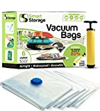 vacuum bag sealer for clothes - 6 PC Vacuum Storage Bags | Space Saver Set | Vacuum Bags with Travel Pump | Vacuum Sealer Bags for Clothes, Bedding & Travel | Works With Any Vacuum | Airtight & Waterproof Space Bags by Smart Storage