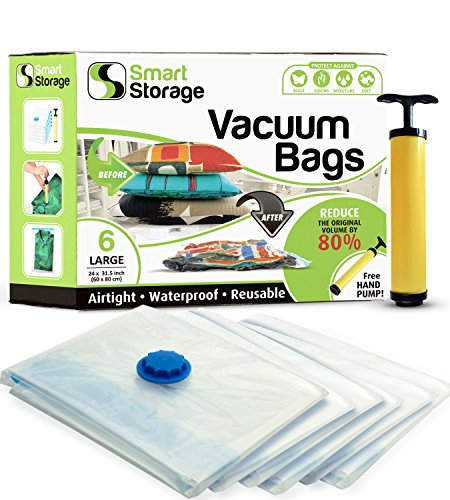 (Smart Storage 6 PC Vacuum Storage Bags | Space Saver Bags Underbed Storage for Clothes, Bedding & Travel Bag Sealer | Vacuum Sealer Bags with Travel Pump | Waterproof Bags Works with Any Vacuum - L)