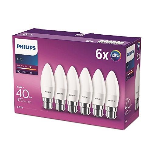 Philips LED B22 Candle Light Bulbs, 5.5 W