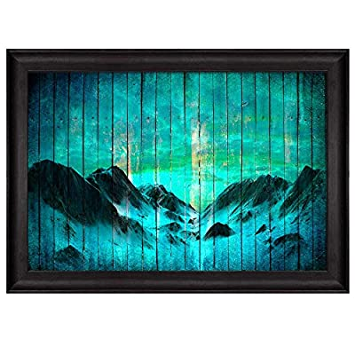 Mountains Over Teal Blue Wooden Panels with a Vignette Around It Nature Framed Art, Professional Creation, Majestic Print