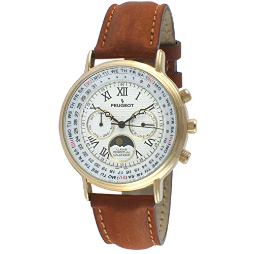 Peugeot Men's Vintage 14K Gold Plated Moon Phase Brown Suede Band Multifunction Watch 7090GBR