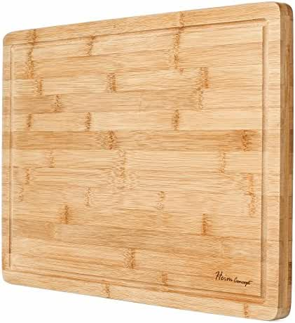 Premium Organic Bamboo [ HEIM CONCEPT ] Extra Large Cutting Board and Serving Tray with Drip Groove [ 18