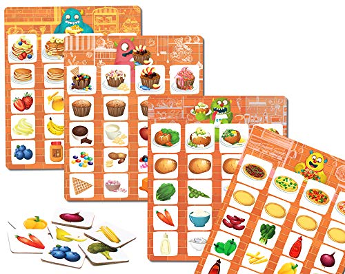 Chalk and Chuckles Lettuce Play- Picture Food Bingo, Matching and Memory Preschooler Game, Ages 3 to 6 Years Old Multiple Play Activities and Ideas