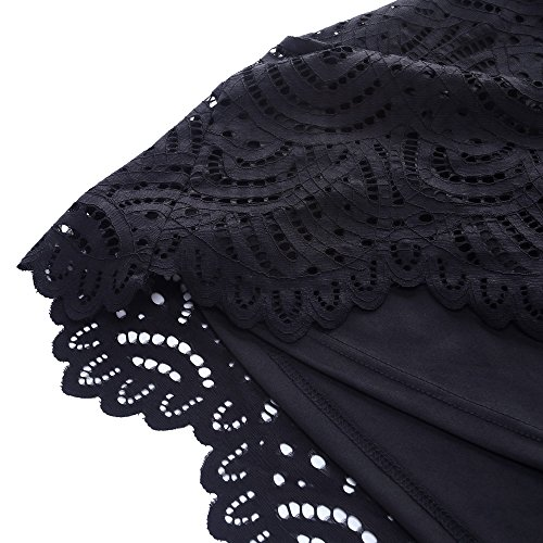 eb914213f4420 Chicwe Women s Plus Size Smart Scalloped Lace Solid Top - Casual and Work  Blouse Black 1X