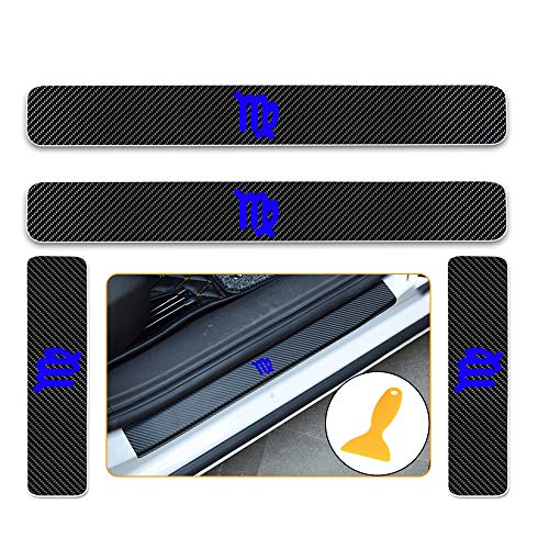 for Acura ILX RDS TLX MDX RLX NSX 4D Carbon Fiber Door Sill Guard Protector Kick Plate Trim Covers Stickers with Constellation Virgo Pattern Blue 4Pcs
