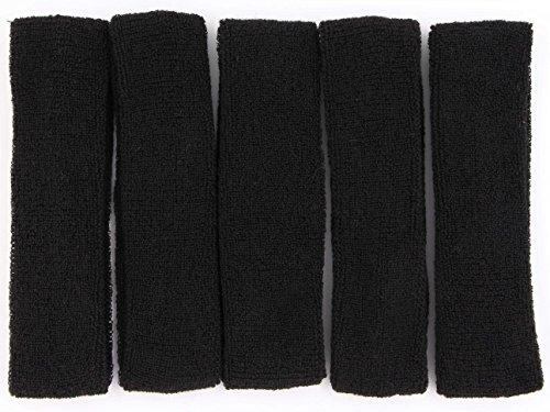 LeBeila Sweat Headbands for Men - 5PK Sweatbands Cotton Headwrap for Basketball Running Sports Workout Exercise, Mens Sweatband Stretchy Terry Cloth Athletic Sweat Headband Headwear (Black, 5PCS)
