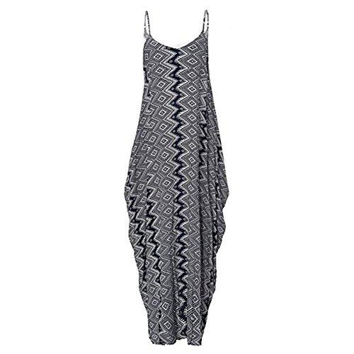 hibote Las mujeres sin mangas Maxi vestidos de arnés floral largo vestido de noche de verano los vestidos de fiesta vestido de playa Geometría