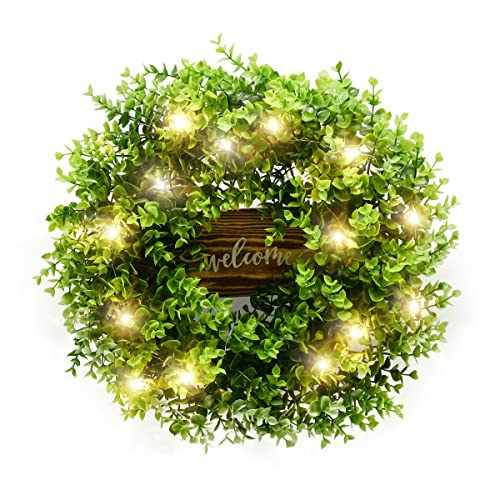 Front Door Wreath, 18 inches Artificial Eucalyptus Wreaths, Front Porch Decor with Light and Welcome Sign, Farmhouse Decor for Festival, Wall, Window, Party and All Seasons