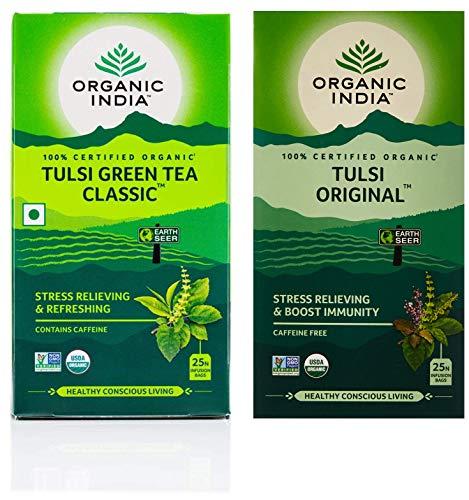 Organic India Tulsi Green Tea Classic – 25 Tea Bags + Organic India Tulsi Original Tea, 25 Infusion Tea Bags