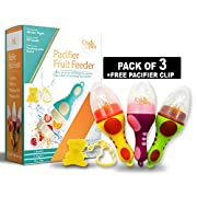 Baby Fruit Feeder Pacifier (3 Pack) | baby Food feeder | fresh fruit Teething Toy Feeder | Silicone Nipple, Teether, Soother, Pouches for Babies by Cradle Plus