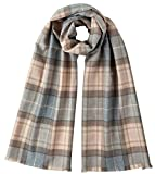 Johnstons of Elgin Unisex Natural Mackellar Extra Fine Tartan Scarf - Beige/Grey