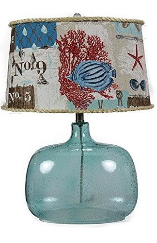 AHS Lighting L1984BL-U4 Spa Glass Table Lamp Nautical Patchwork Shade, 11'' x 17'' x 24'' by AHS Lighting