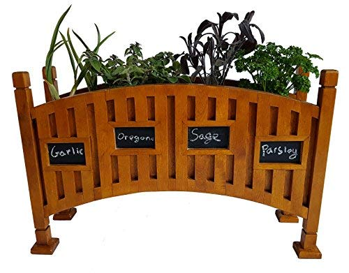 Solid Birch Wood Kitchen Herb Garden Indoor Planter Box with Chalkboard - Perfect For Windowsill ()