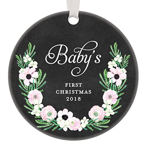 Girl Baby's First Christmas 2018, 1st Xmas Newborn Babies Gifts, Little Girls Younger Sister Sibling Hija Ornament Keepsake Present 3
