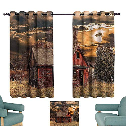 DILITECK Warm Curtain Scenery Decor Scary Horror Movie Themed Abandoned House in Pale Grass Garden Sunset Photo Thermal Insulated Tie Up Curtain W63 xL72 Multicolor