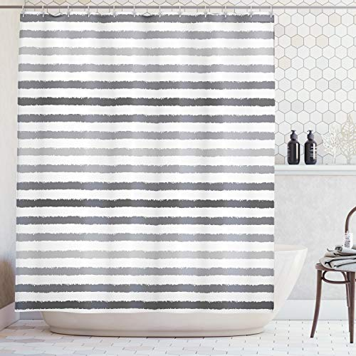 Ambesonne Striped Shower Curtain Set, Gray and White Stripes Monochrome Tones Brush Style Lines Grunge Retro Digital Printed, Fabric Bathroom Decor with Hooks, 70 Inches, White Grey