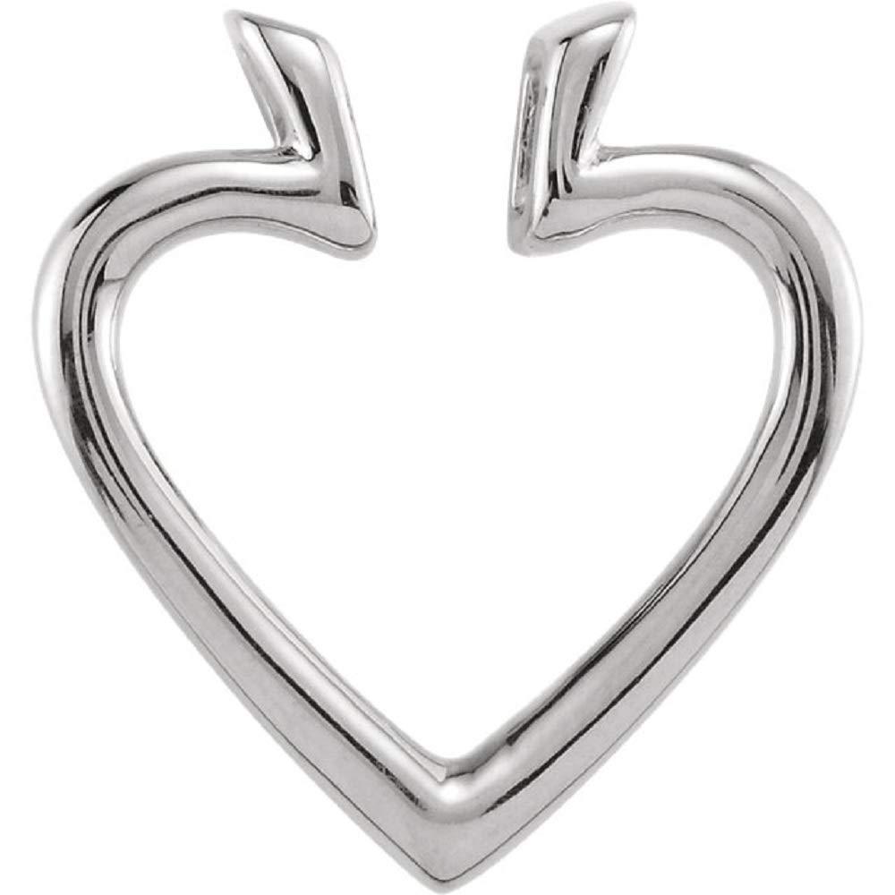 14K White 19.5x18.25mm Heart Pendant Enhancer