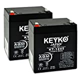 GS Portalac PE12V4.5F1 12V 4.5Ah Replacement Battery SLA Sealed Lead Acid AGM Rechargeable Genuine KEYKO (W/F1 Terminal) - 2 Pack
