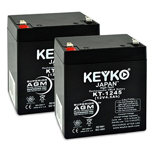 Electric & eSpark Scooter 6-DW-5 Battery 12V 4.5Ah FRESH & Real 4.5 Ah - SLA Sealed Lead Acid AGM Rechargeable Replacement Genuine KEYKO F1 Terminal - 2 Pack
