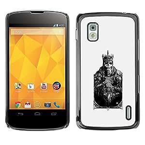 For LG Google NEXUS 4 / Mako / E960 Case , Card Skull Poster Poker Death - Diseño Patrón Teléfono Caso Cubierta Case Bumper Duro Protección Case Cover Funda