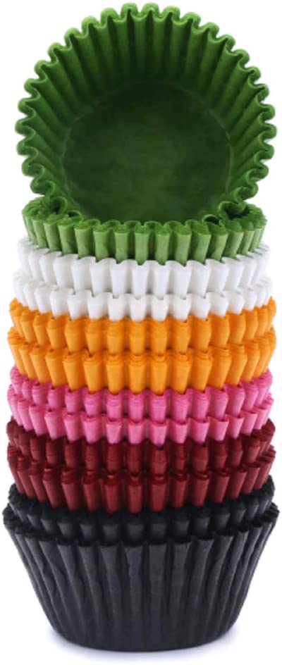 300-Pack Muffin Baking Cups Paper Greaseproof Cupcake Liners No Smell and Safe Food Grade Inks Mini Baking Paper Treat Cups for Muffins, Candies, Nuts and Chocolates (1.37-inch)