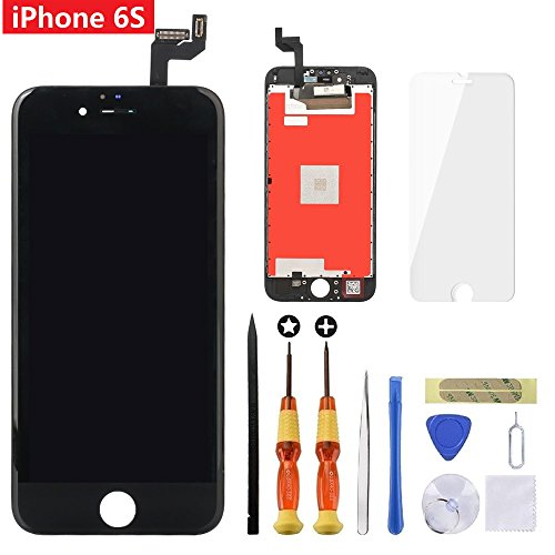 Screen Replacement for iPhone 6s Black 4.7 inch Retina LCD Screen Replacement 3D Touch Digitizer Frame Assembly with Tempered Glass Screen Protector + Repair Tools + Instruction by Brinonac (Lcd Tempered Glass)