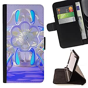 "Bright-Giant (Floral azul de ciencia ficción abstracta púrpura Diseño"") Modelo Colorido Cuero Carpeta Tirón Caso Cubierta Piel Holster Funda Protección Para Apple Apple iPhone 4 / iPhone 4S"