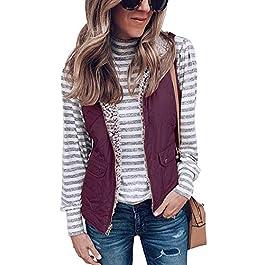 LAMISSCHE Womens Warm Sherpa Fleece Zip Up Reversible Vest Sleeveless Lightweight Jacket Outwear with Pockets